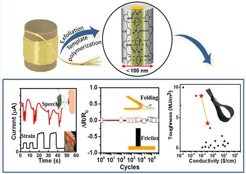 Conductive Core–Shell Aramid Nanofibrils: Compromising Conductivity with Mechanical Robustness for Organic Wearable Sensing. Han, X., Lv, L., Yu, D., Wu, X., & Li, C. (2018).ACS applied materials & interfaces, 11(3), 3466-3473.