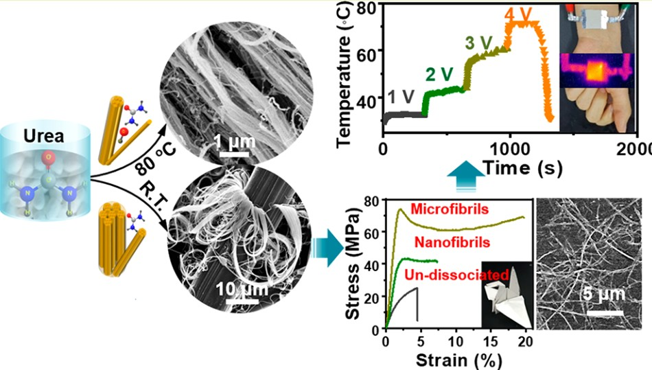 Peeling and Mesoscale Dissociation of Silk Fibers for Hybridization of Electrothermic Fibrous Composites. ACS Sustainable Chemistry & Engineering  L. Lv, X. Han, X. Wu,* and Chaoxu Li* DOI: 10.1021/acssuschemeng.9b05261
